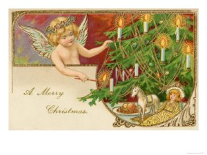 10017716~An-Angel-Lights-the-Candles-on-the-Christmas-Tree-Posters