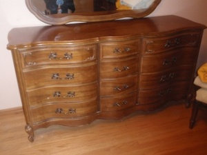 long dresser  with wall  mirror
